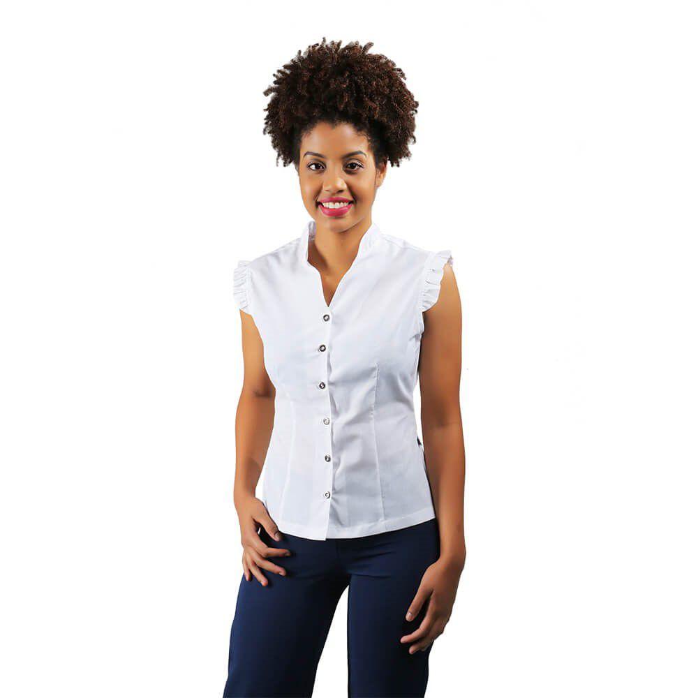 Blusa feminina Branca  tricoline  sem manga e babado  Blanco Raro