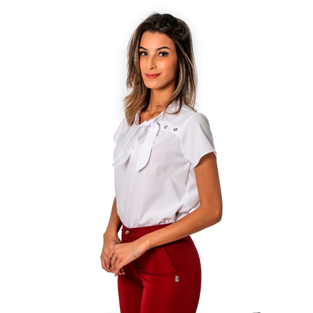 Blusa social feminina com detalhe de amarração Blanco Raro