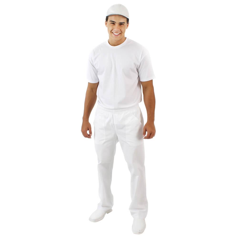 Calça unissex BRANCA brim com elástico  Blanco Raro