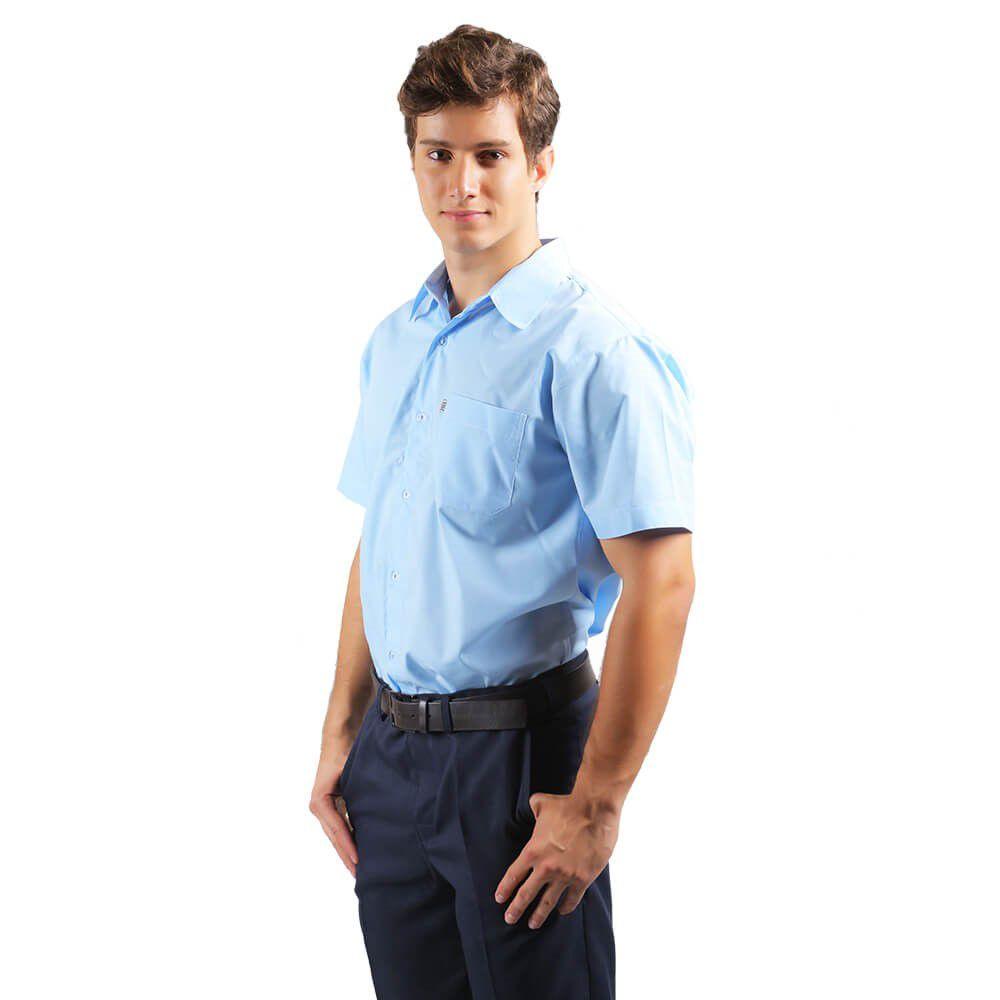 Camisa masculina tricoline profissional manga curta AZUL Blanco Raro