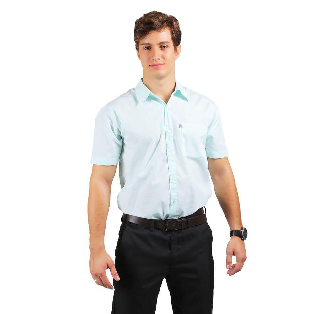 Camisa masculina tricoline profissional manga curta VERDE CLARO Blanco Raro