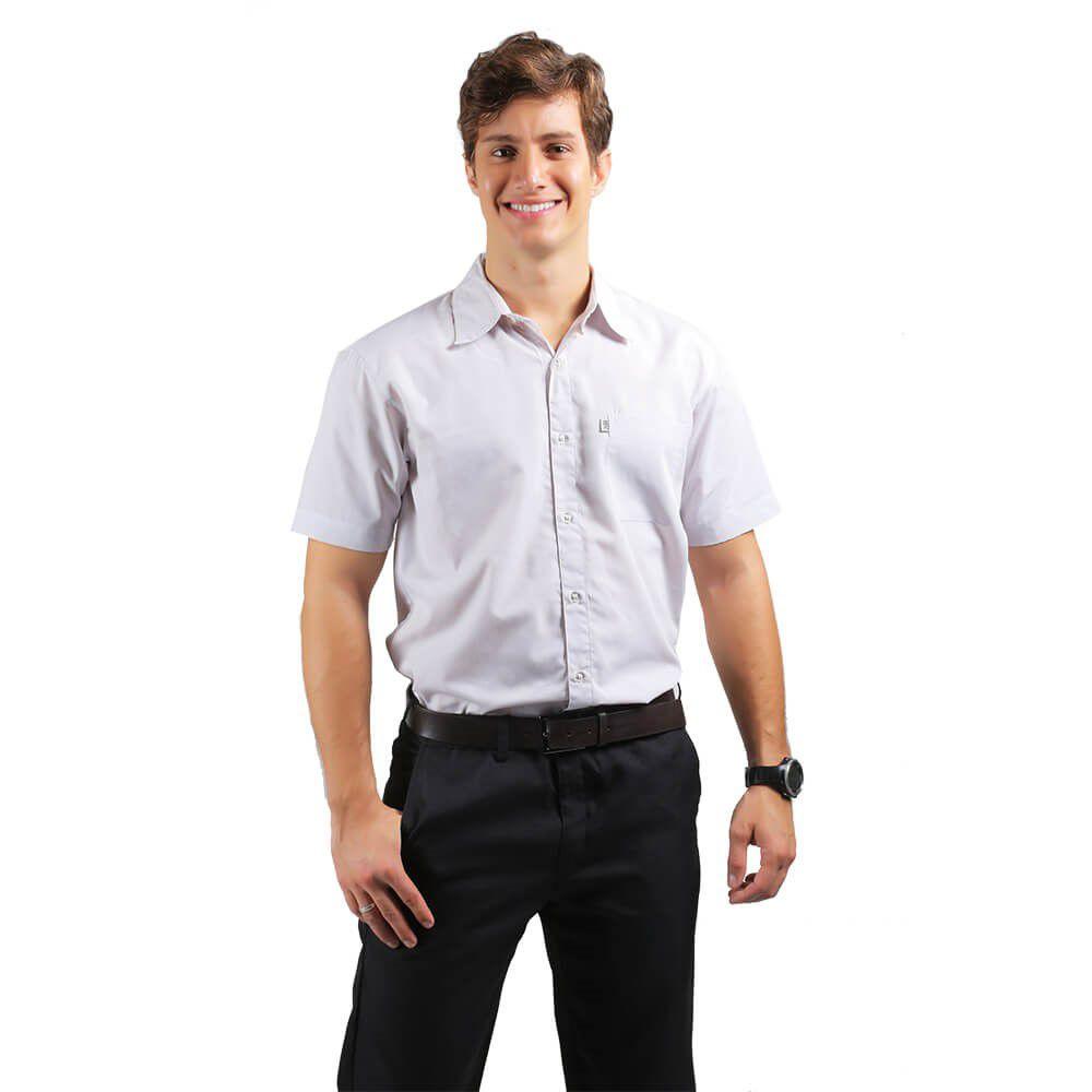 Camisa masculina tricoline profissional manga curta CINZA CLARO Blanco Raro