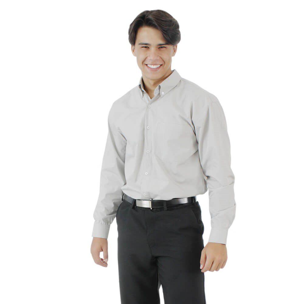Camisa social masculina tricoline profissional manga longa CINZA Blanco Raro