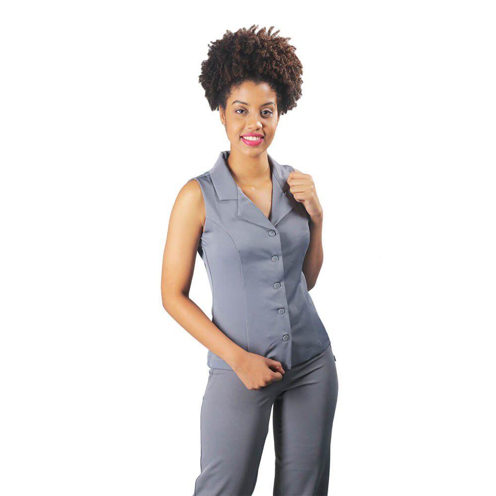 Conjunto terninho 1Colete  social feminino com gola e botão e 1 calça social  Blanco Raro