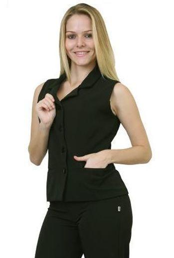 1 Colete Feminino alfaiataria várias cores  sem manga e com gola e botão Blanco Raro