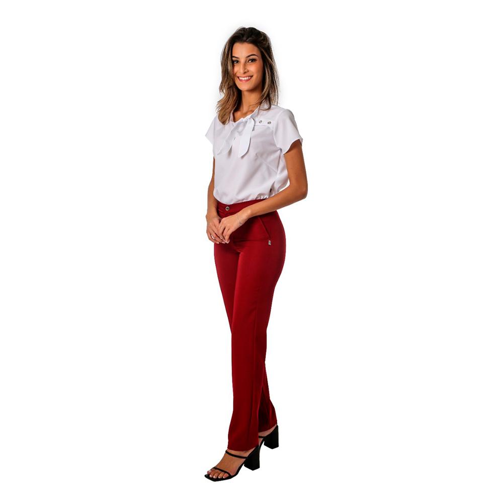 Conjunto feminino 1 blusa Branca e 1 calça marsala Blanco Raro