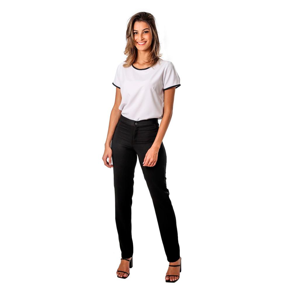 Conjunto feminino Preto 1 blusa branca e 1 calça preta Blanco Raro