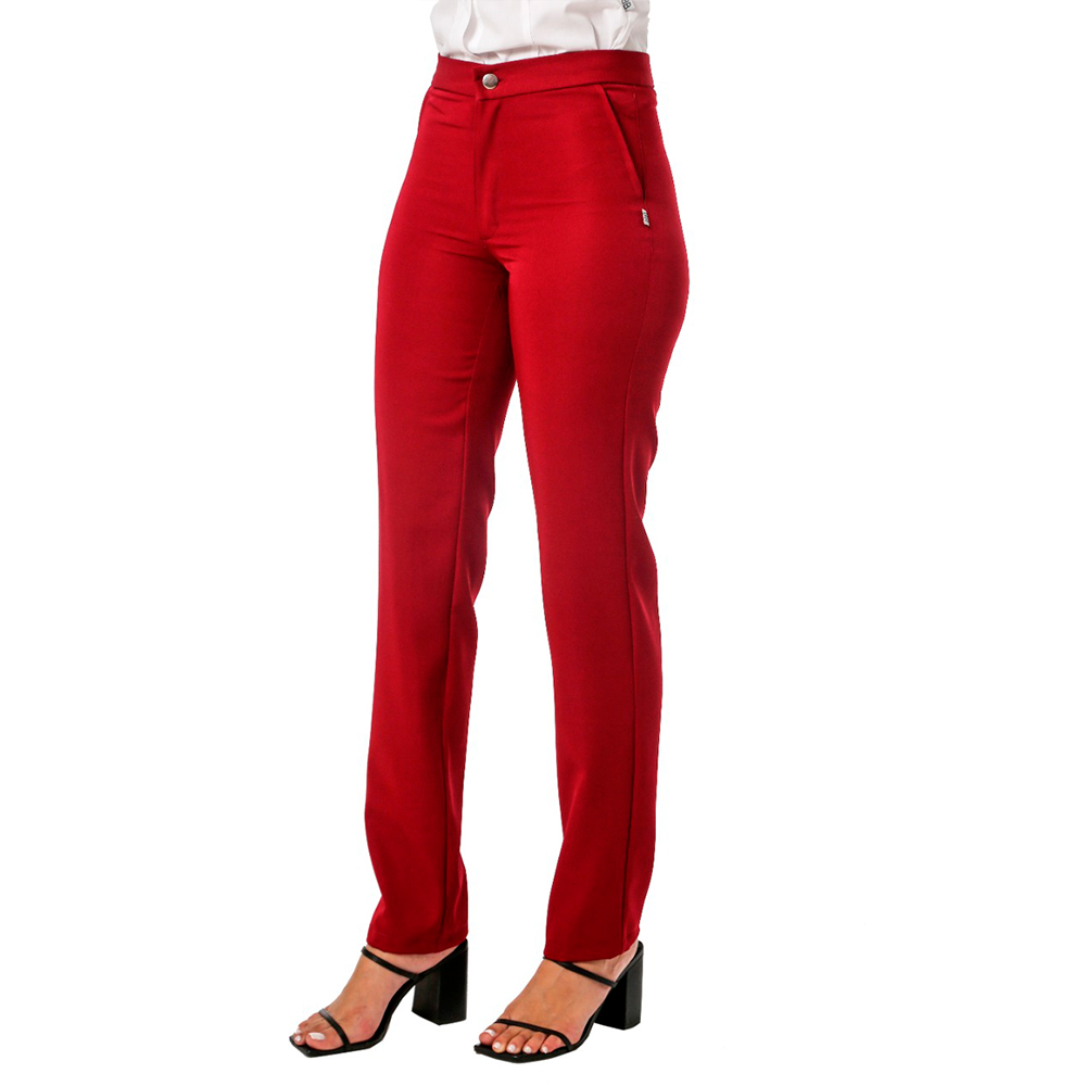 Conjunto social feminino 1 Colete   branco e 1 calça social marsala Blanco Raro