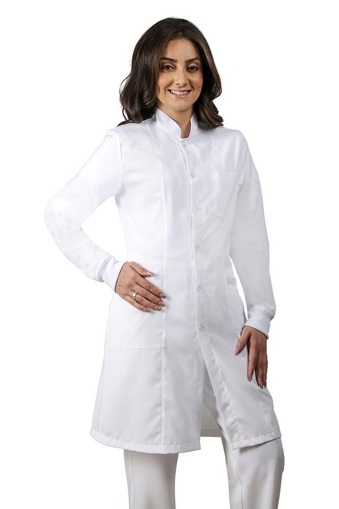 Jaleco Feminino Acinturado Branco com Punho de malha  Blanco Raro