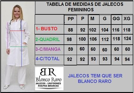 Jaleco Feminino Acinturado Marinho Fechamento com Zíper e Punho de 2 Botões Blanco Raro