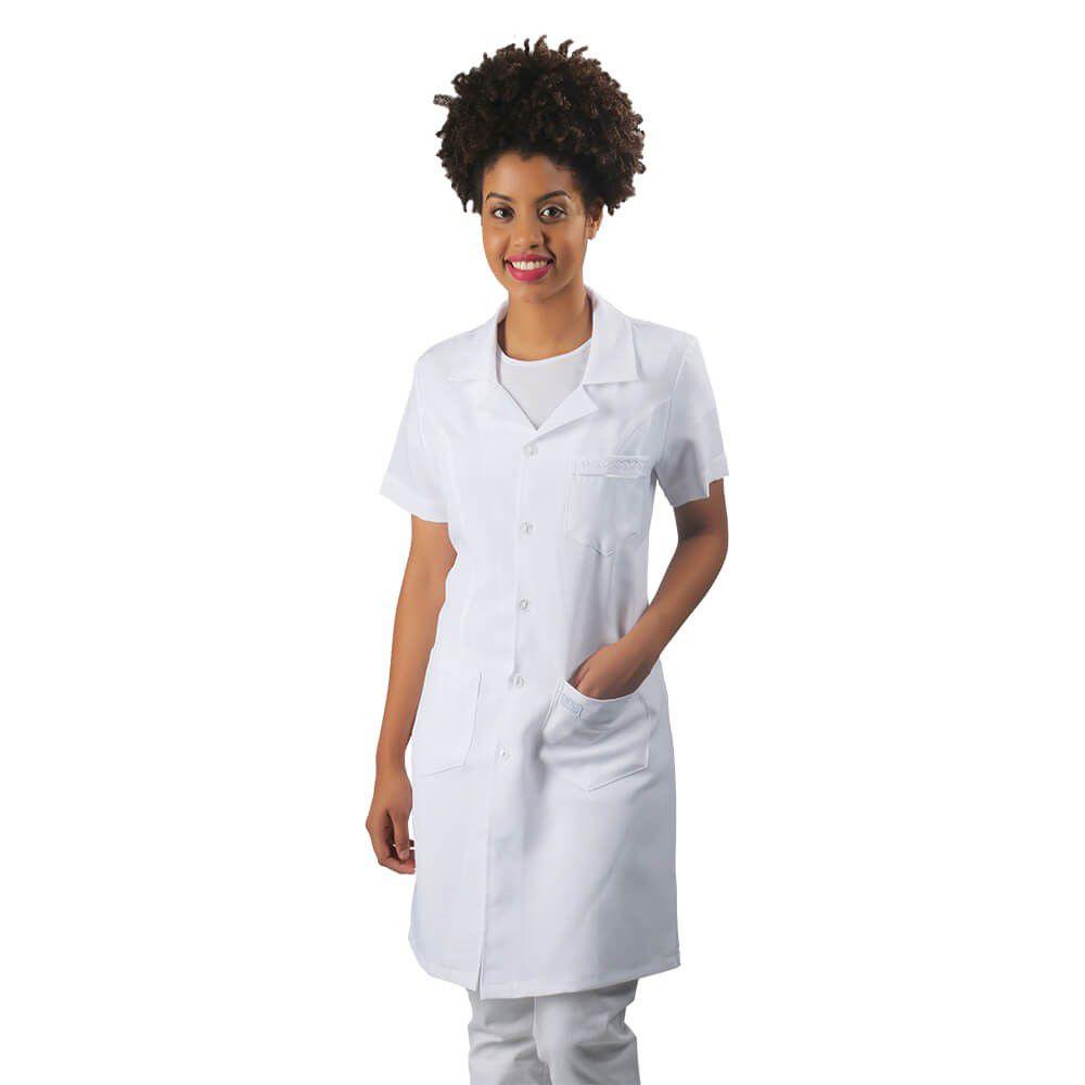 Jaleco feminino acinturado oxford manga curta Blanco Raro