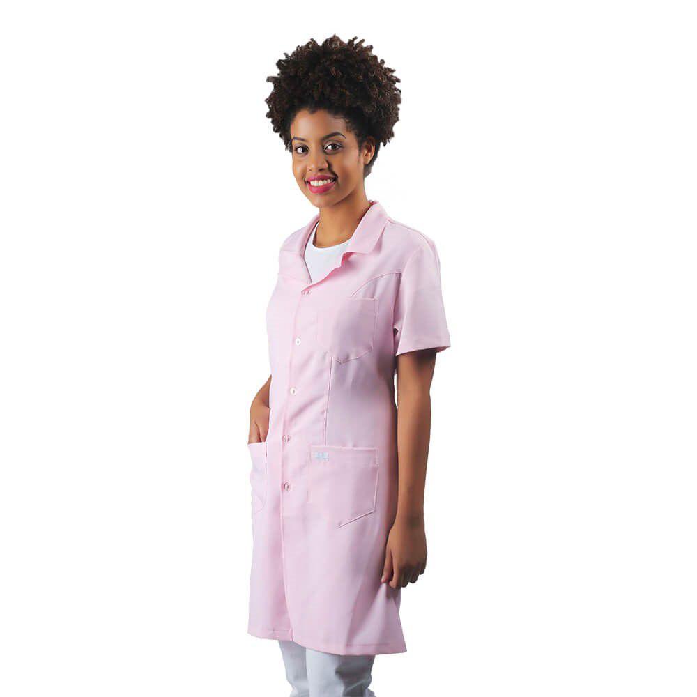 Jaleco feminino acinturado oxford manga curta rosa Blanco Raro