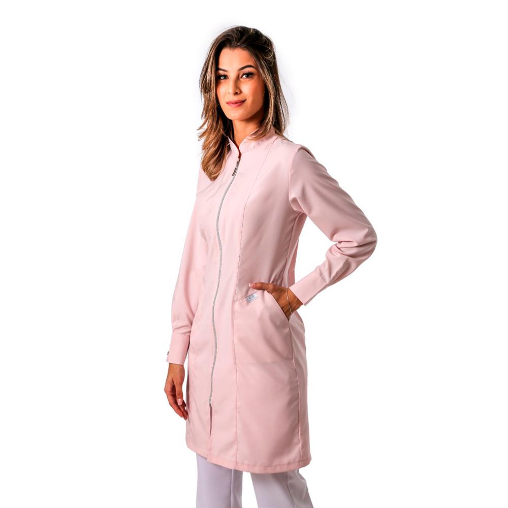 Jaleco Feminino Acinturado Rosé Fechamento com Zíper e Punho de 2 Botões Blanco Raro