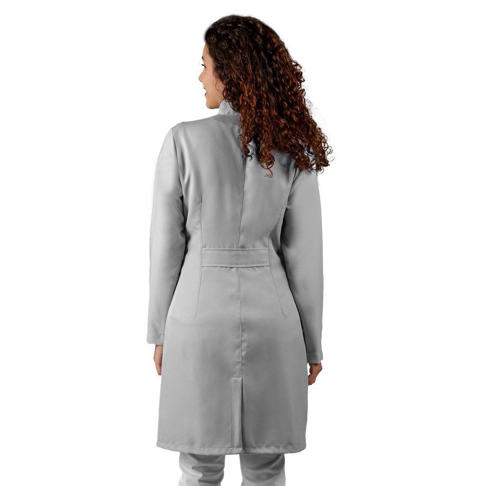 Jaleco feminino BORDADO cinza gabardine acinturado manga longa Blanco Raro