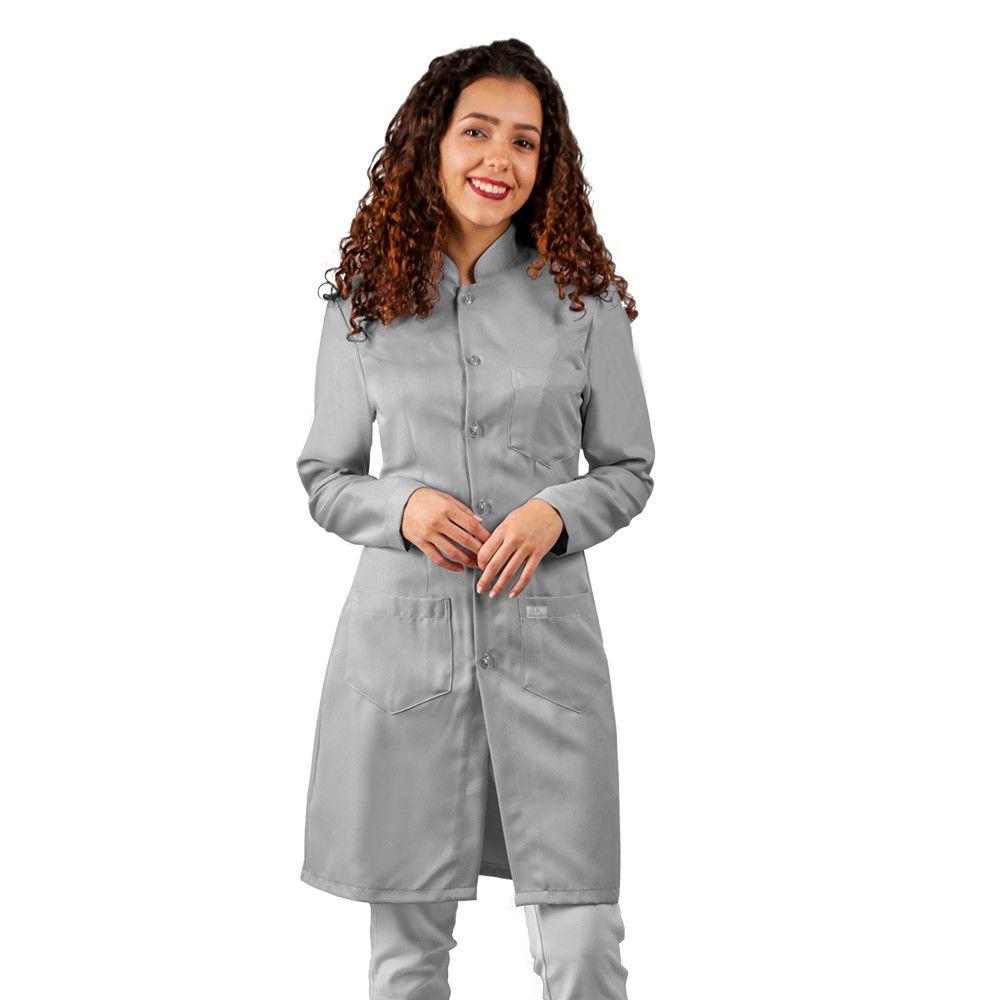 Jaleco feminino CINZA gabardine acinturado manga longa Blanco Raro