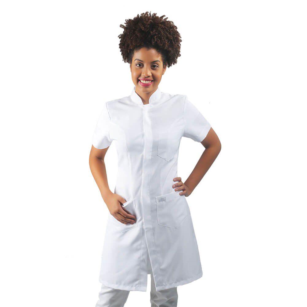 Jaleco feminino gabardine acinturado manga curta Blanco Raro