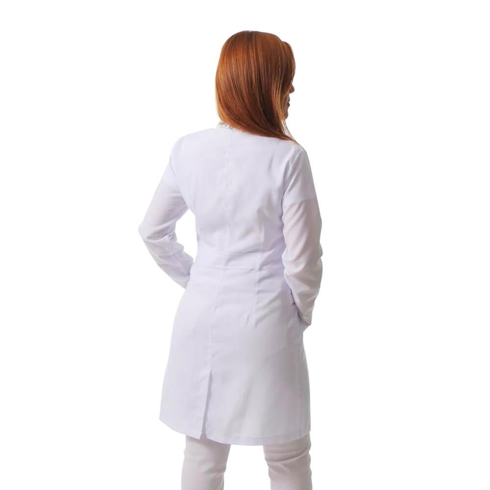 Jaleco feminino BORDADO gabardine acinturado manga curta Blanco Raro