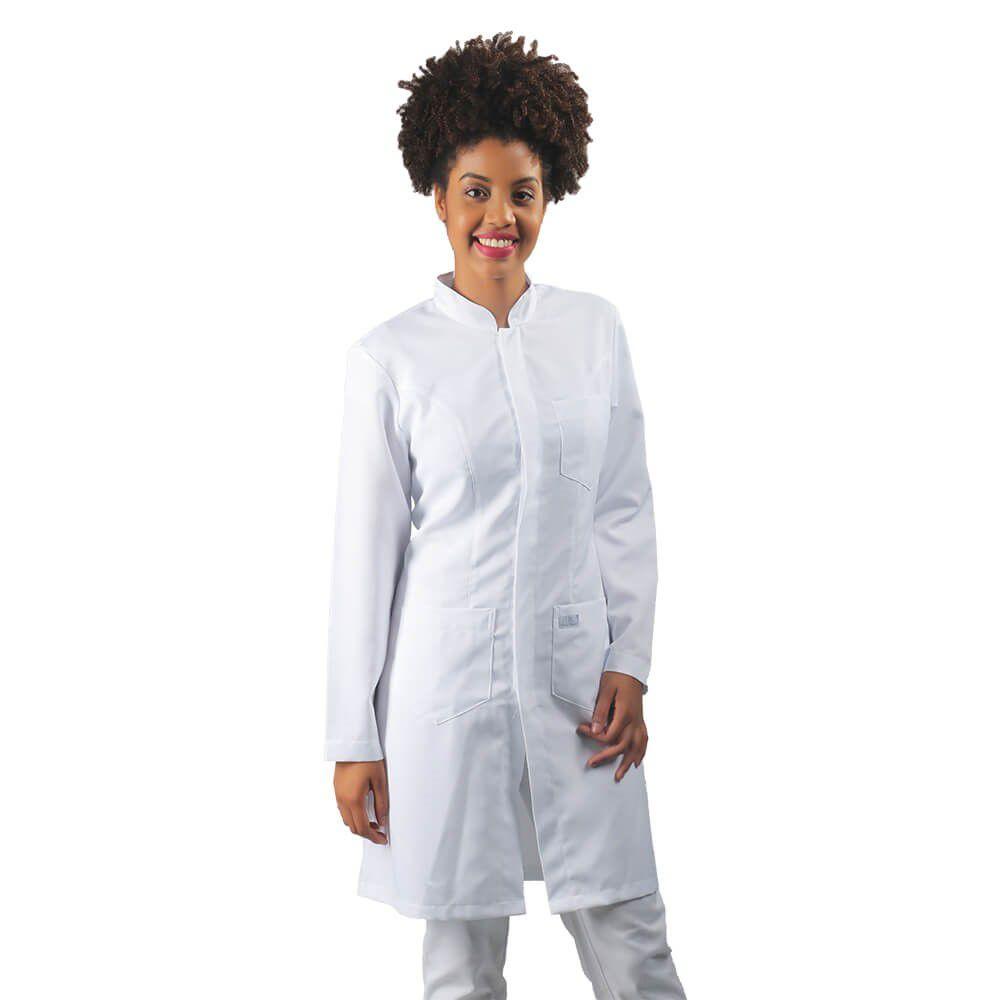 Jaleco feminino BORDADO gabardine acinturado manga longa Blanco Raro