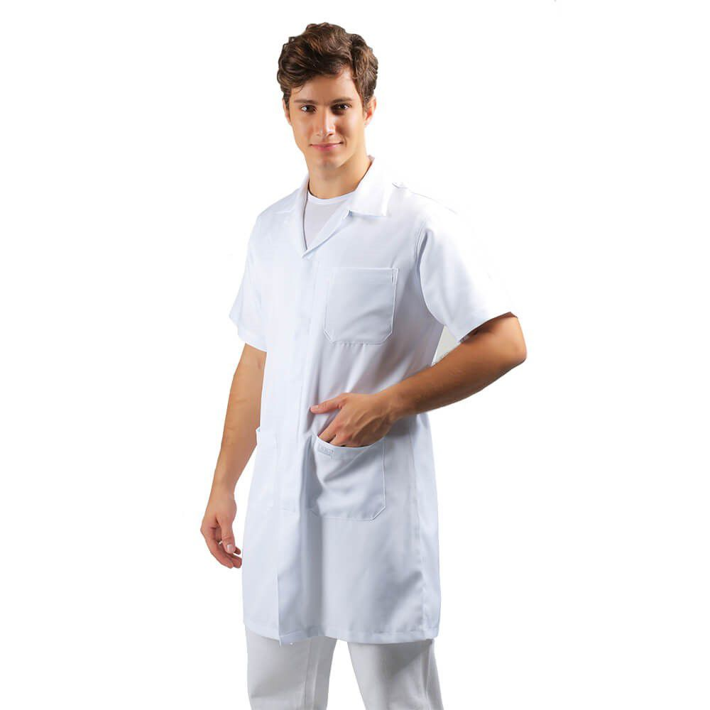 Jaleco masculino gabardine manga curta Blanco Raro