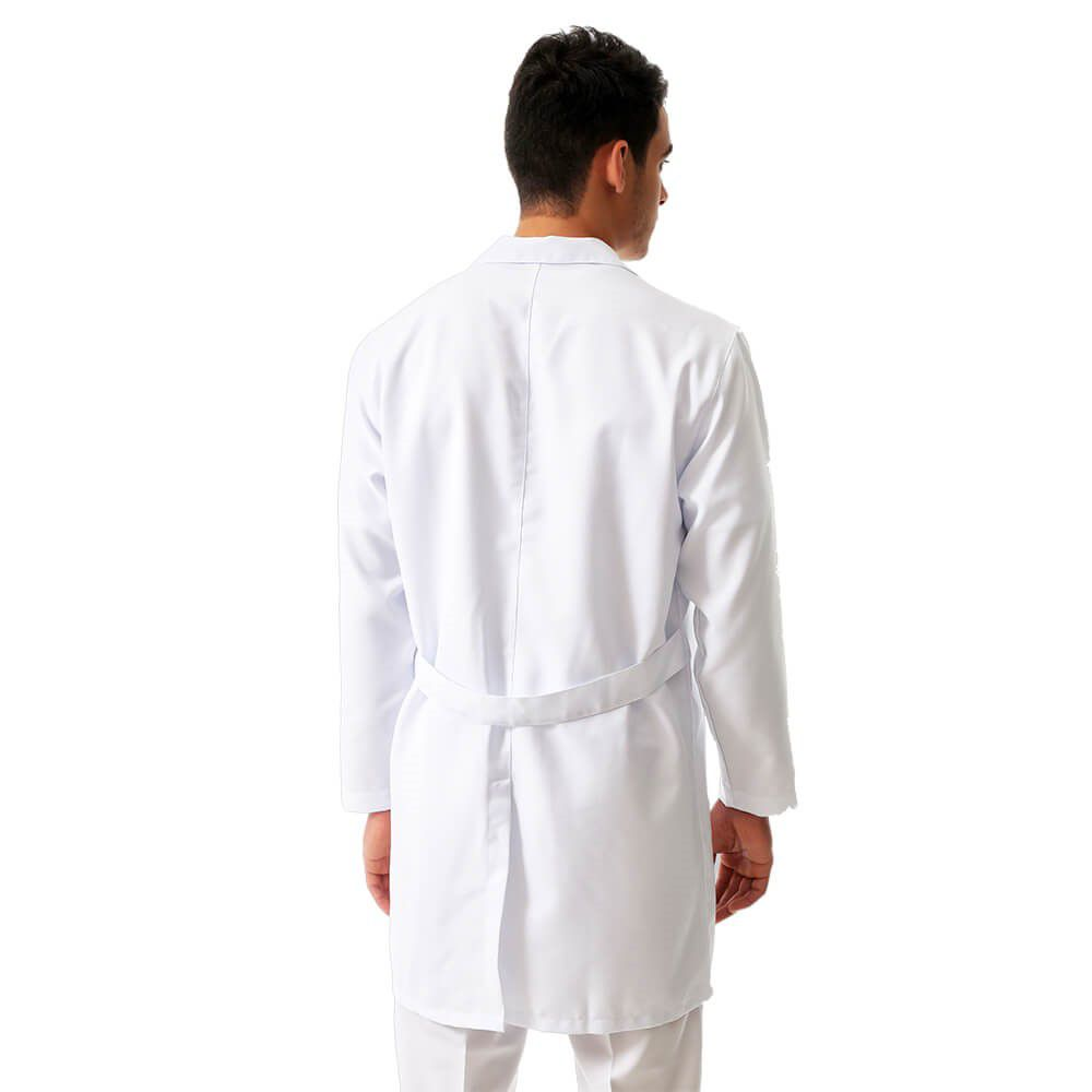 Jaleco masculino gola de padre gabardine manga longa BORDADO  Blanco Raro