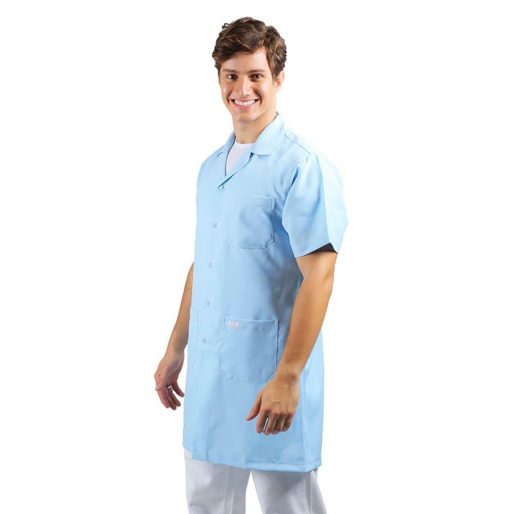Jaleco masculino oxford manga curta, azul BORDADO Blanco Raro