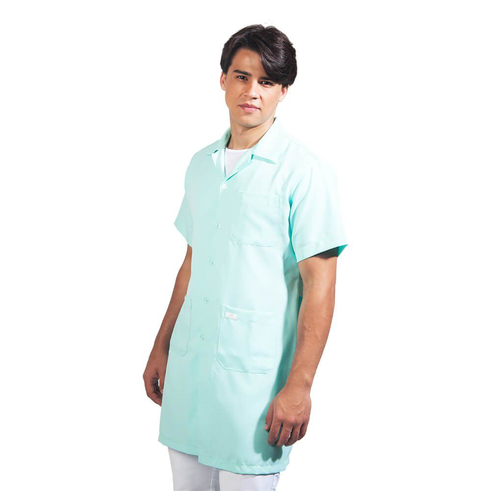 Jaleco masculino oxford manga curta, verde  BORDADO Blanco Raro