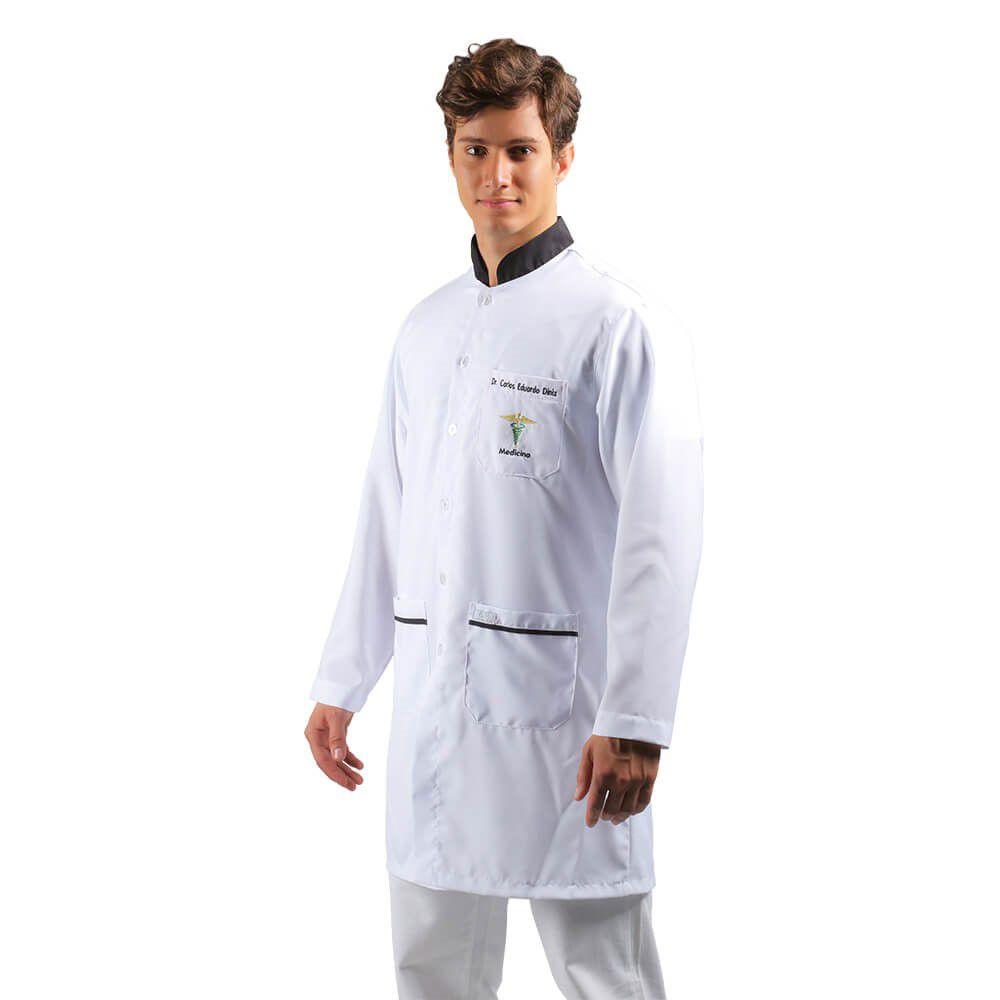 Jaleco masculino oxfordine  detalhe preto  Blanco Raro