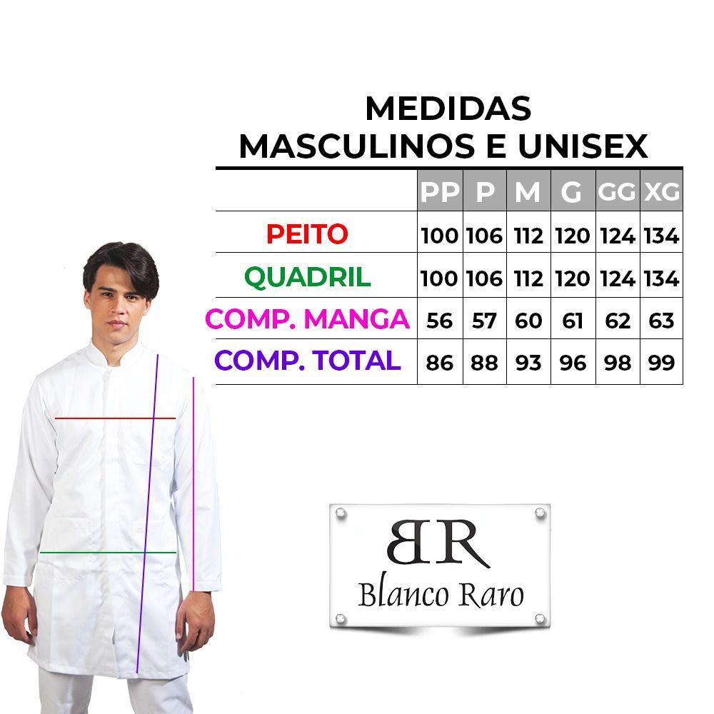 Jaleco masculino oxfordine  detalhe verde BORDADO Blanco Raro