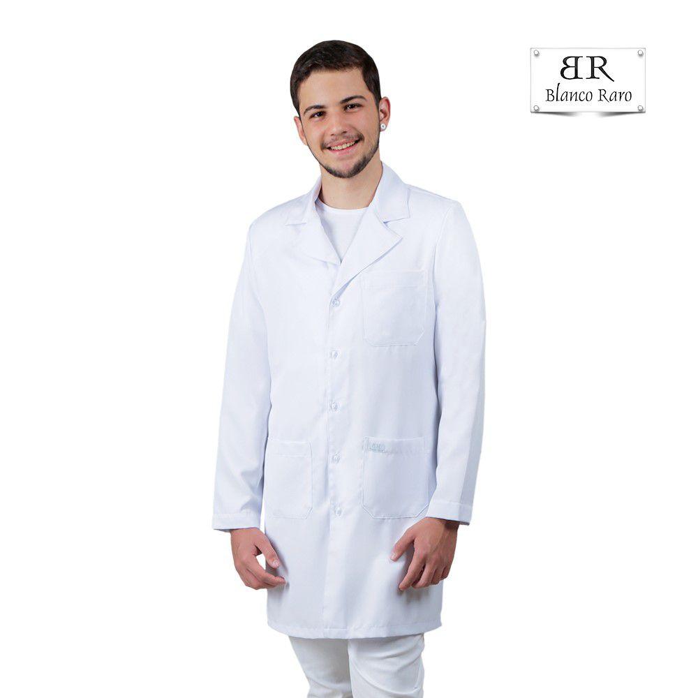 Jaleco Masculino Social Gabardine  Blanco Raro