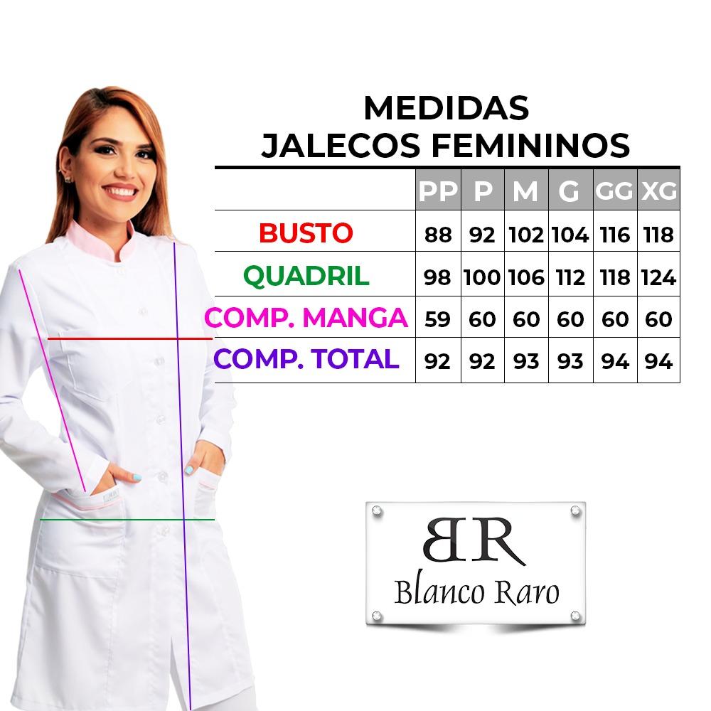 KIT 2 Jalecos Feminino Acinturado Preto Fechamento com Zíper e Punho de 2 Botões Blanco Raro