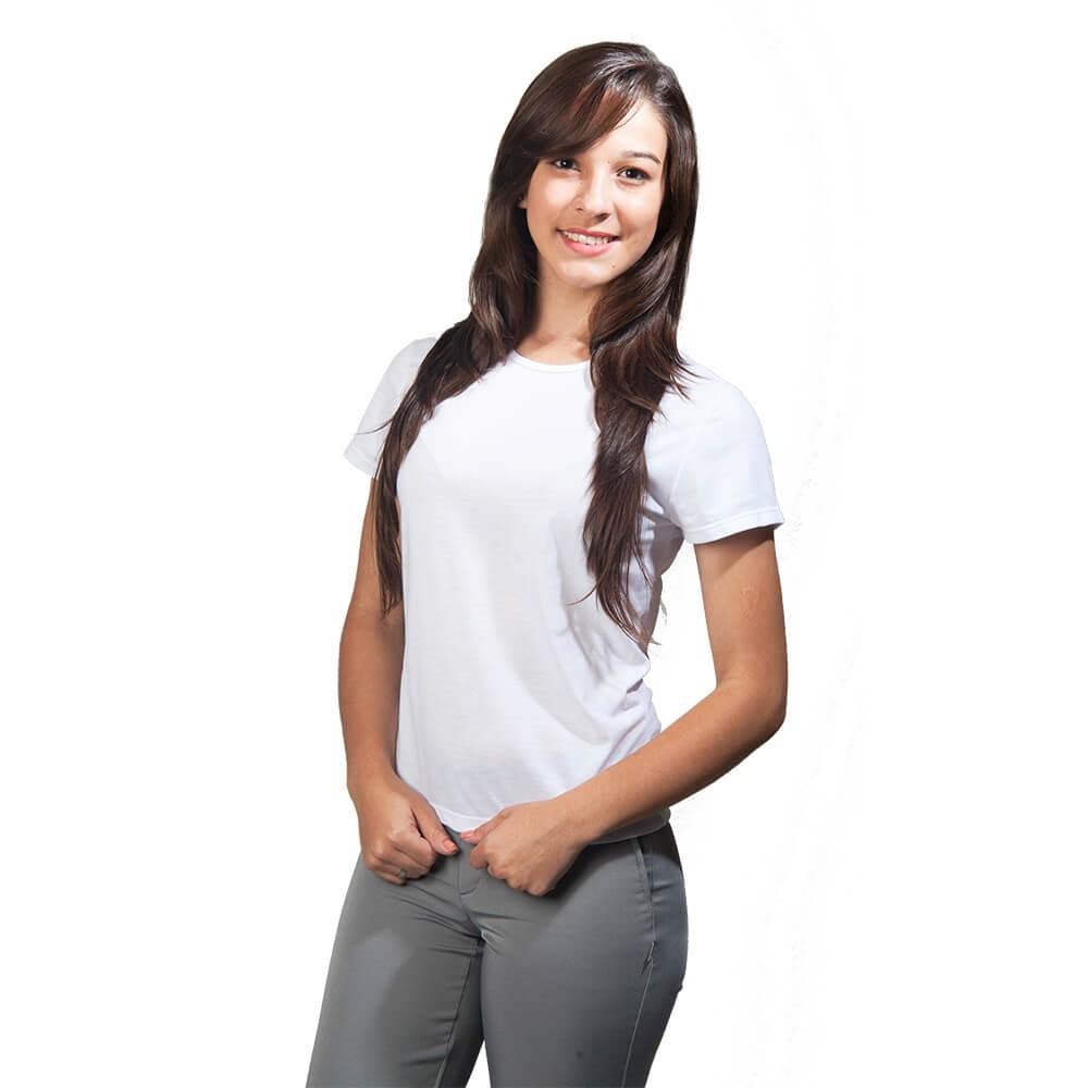 Kit 4 Blusas  feminina branca malha PV baby look Blanco Raro
