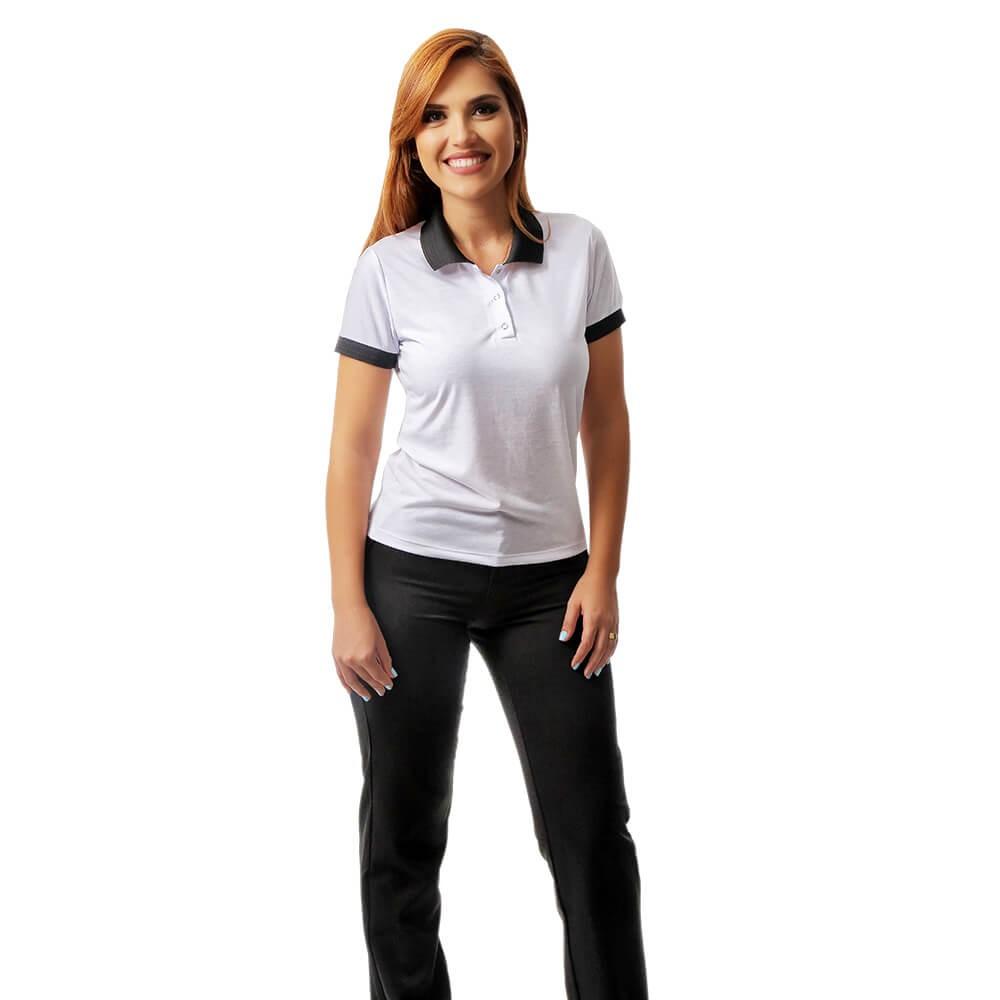 Kit Conjunto 2 Blusas fem branca gola polo e 1 calça social fem preta  Blanco Raro