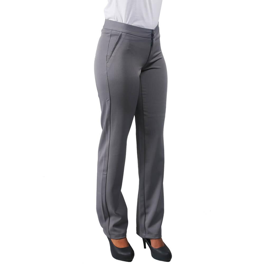Kit Conjunto 2 Blusas fem branca gola polo e 1 calça social  preta  Blanco Raro