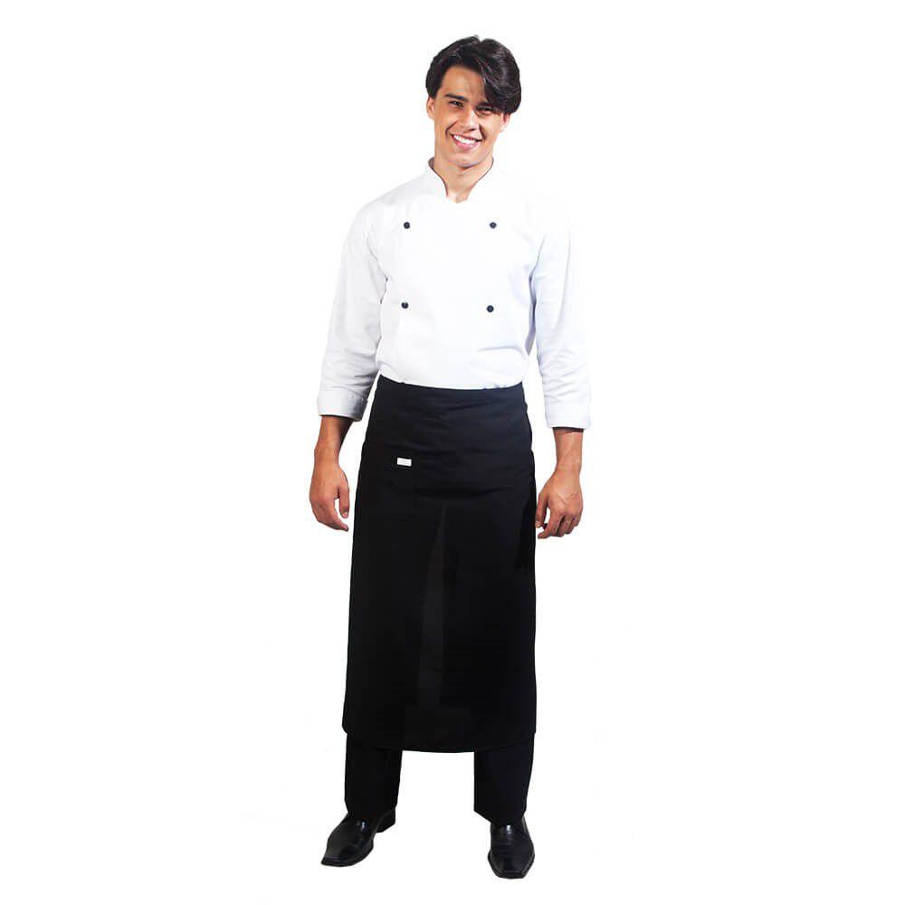 Kit Dolmã Preta + Saiote Chef Vermelho + Frete