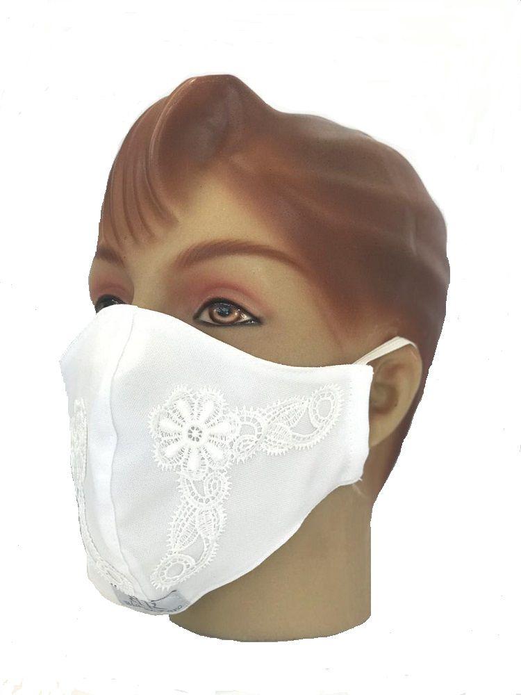 KIT Jaleco feminino Branco com Renda Guipir  Acinturado de manga três quartos e máscara