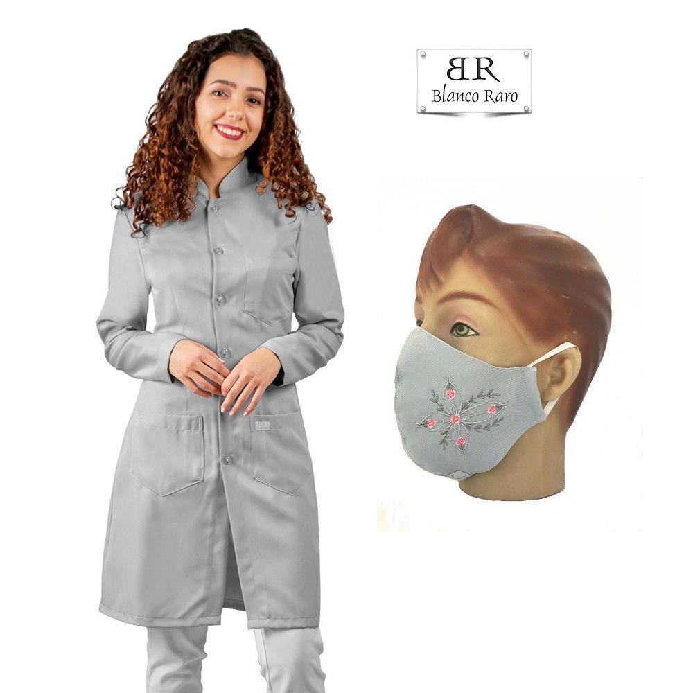 Kit  Jaleco feminino CINZA gabardine acinturado manga longa + Máscara Bordada Blanco Raro