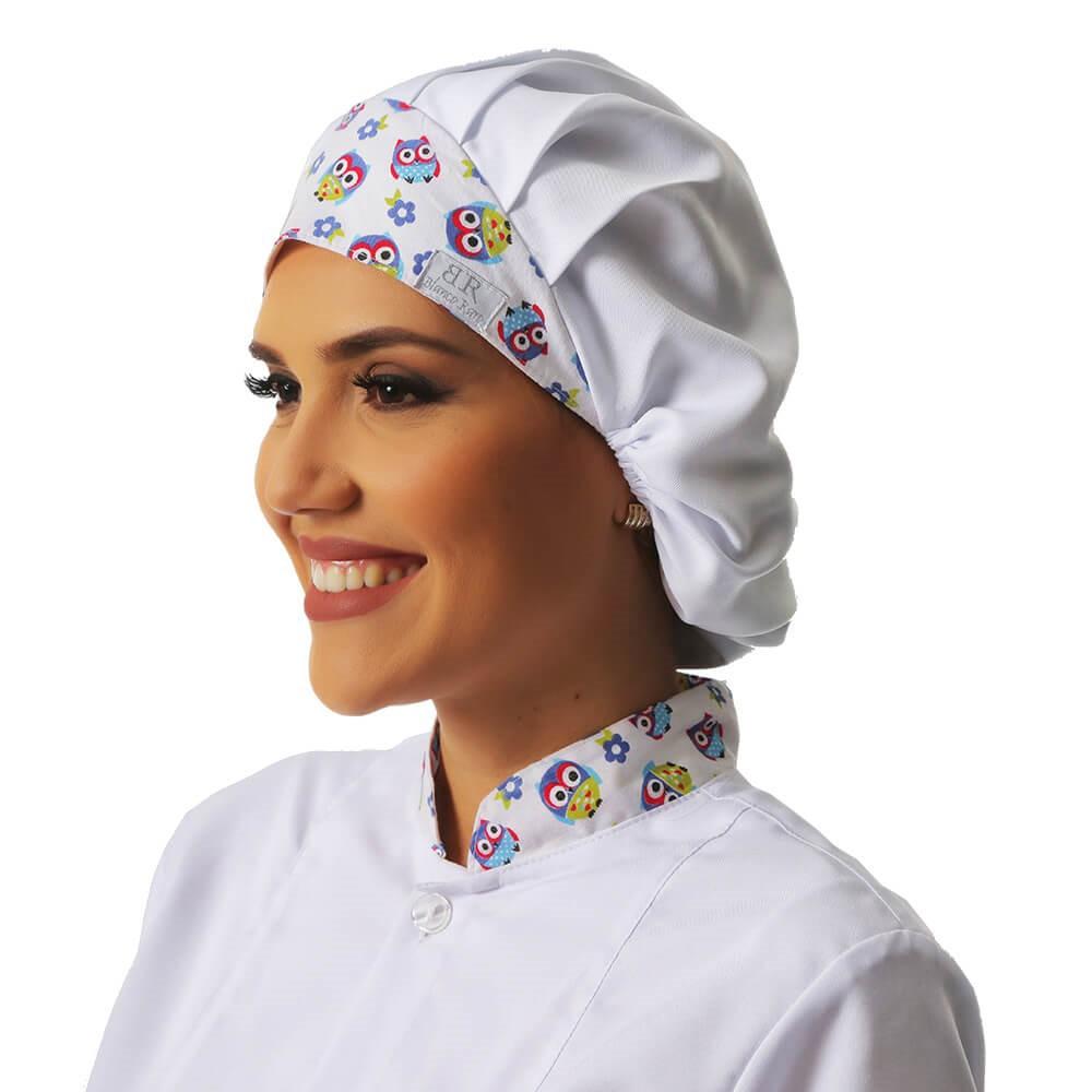 Kit Jaleco feminino detalhe estampa de corujinha + Touca Blanco Raro
