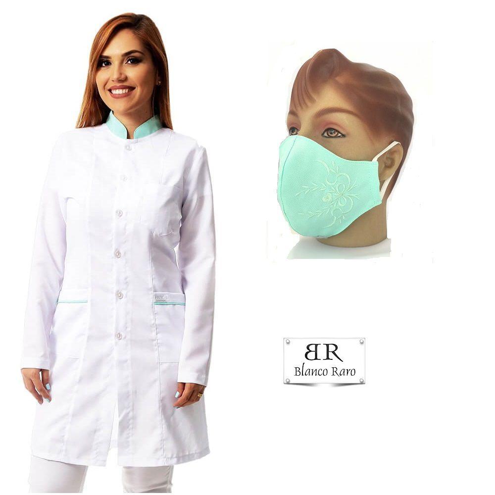 KIT Jaleco feminino oxfordine acinturado detalhe verde e máscara bordada  Blanco Raro