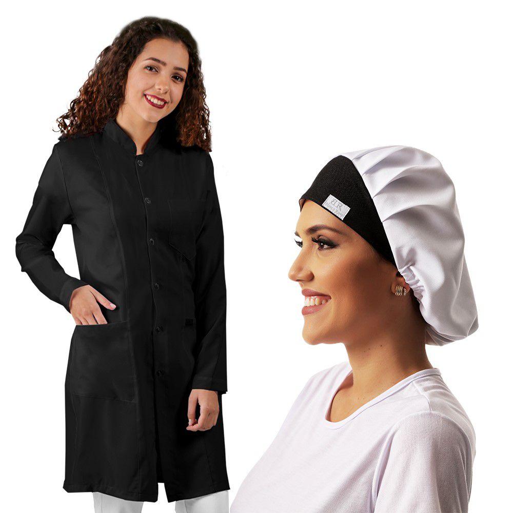 Kit Jaleco feminino preto + Touca + Bordado + Frete