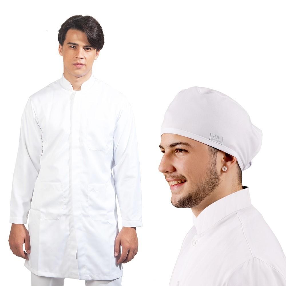Kit Jaleco Masculino Branco gabardine+ Touca Blanco Raro