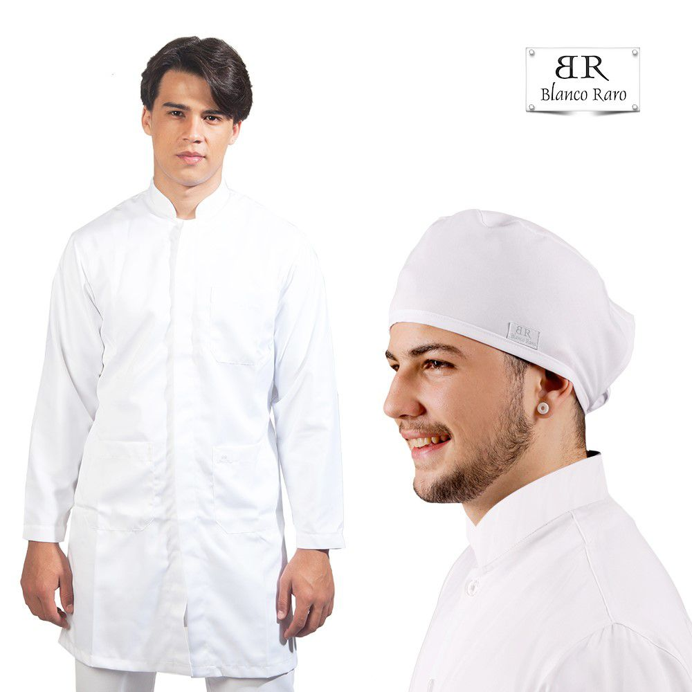Kit Jaleco Masculino Branco gabardine+ Touca + Bordado