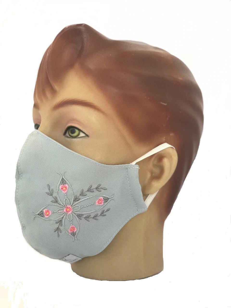 Máscara  Em Tecido Duplo Bordada várias cores Blanco Raro