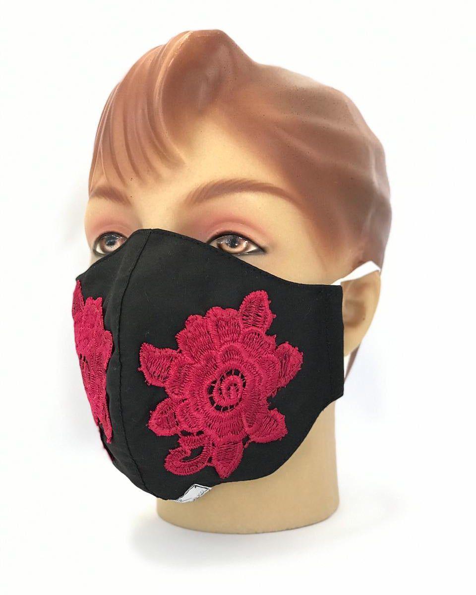 Máscara  Em Tecido Duplo Com Aplicação de Renda Guipir  várias cores Blanco Raro