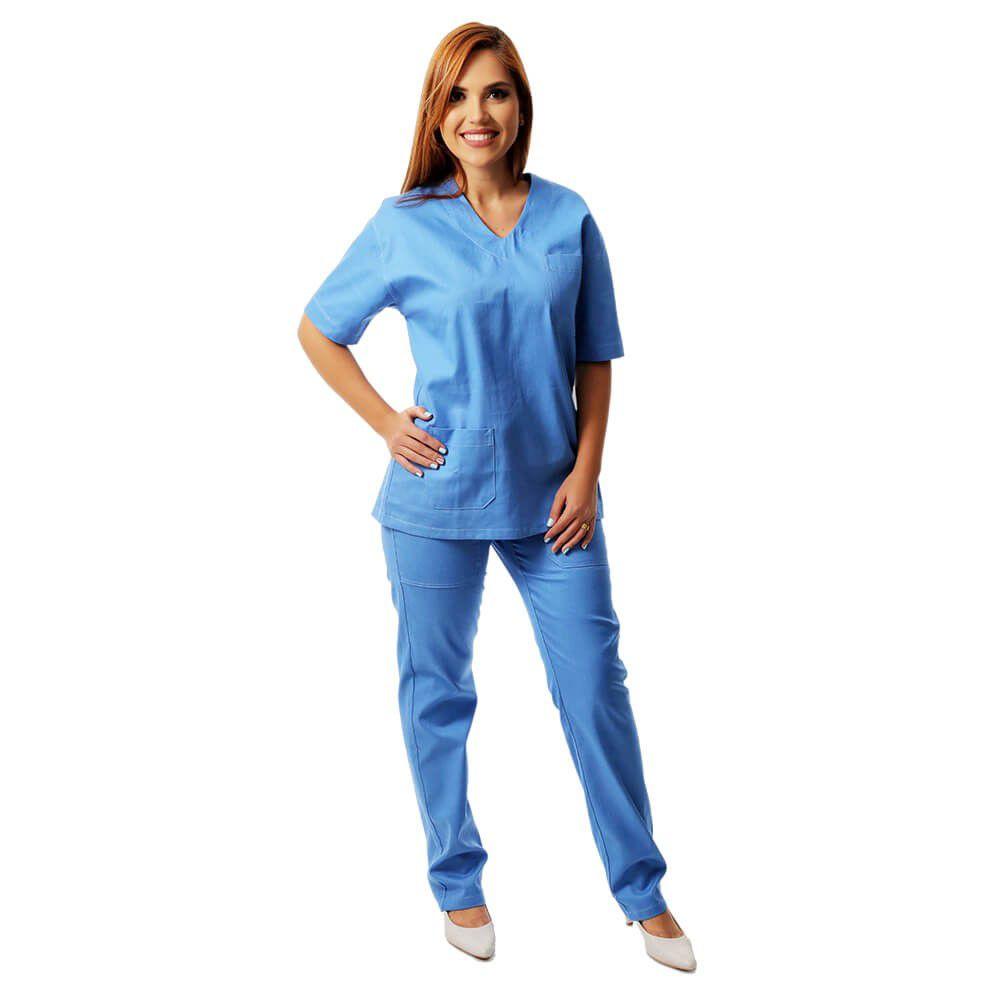 8f0287dcd50e4 Pijama Cirúrgico 100% algodão azul Blanco Raro