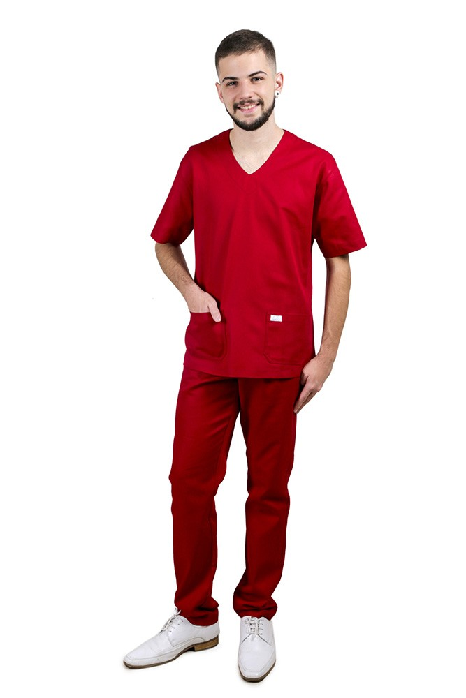 Pijama Cirúrgico Scrub   Marsala Blanco Raro