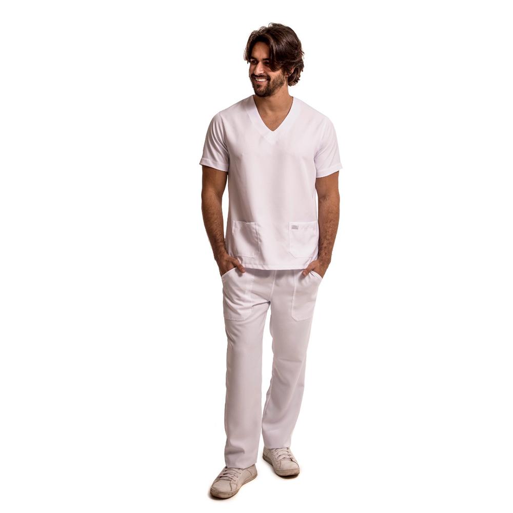 Pijama Cirúrgico Scrub Gabardine  Branco Blanco Raro