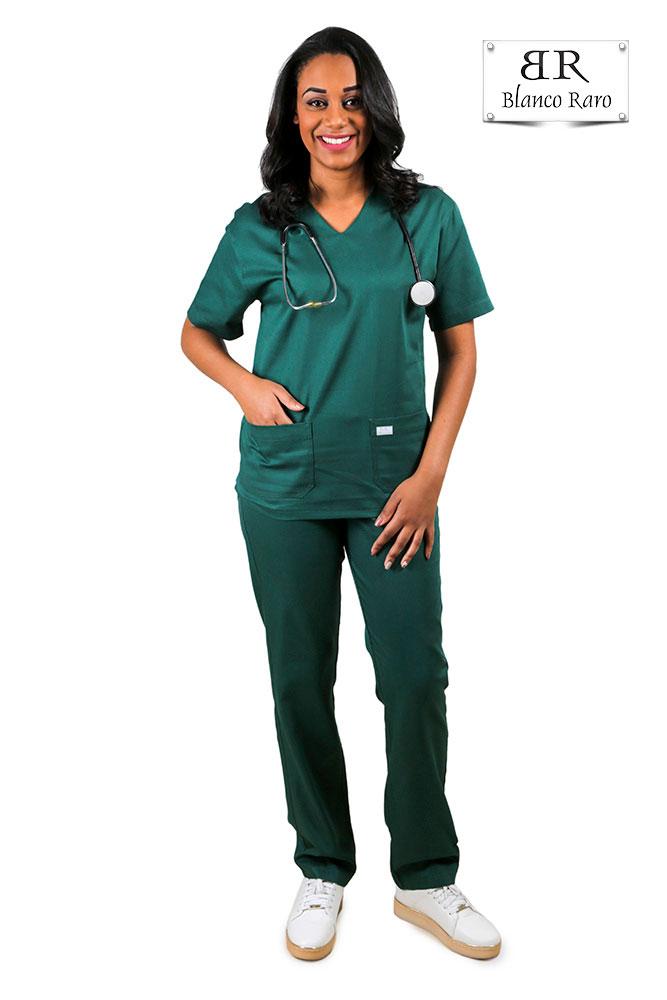 Pijama Cirúrgico Scrub Gabardine  Verde Blanco Raro