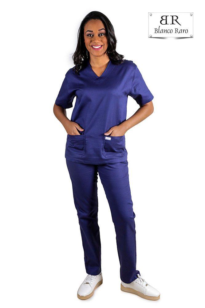Scrub  Pijama Cirúrgico  100% algodão Marinho Blanco Raro