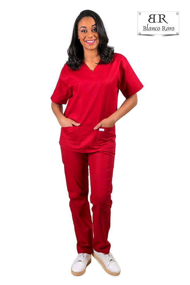 Scrub  Pijama Cirúrgico  100% algodão Marsala Blanco Raro