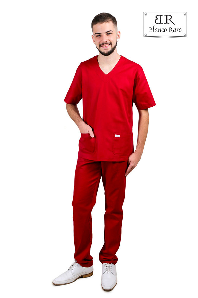 Scrub  Pijama Cirúrgico  cor  Marsala Blanco Raro